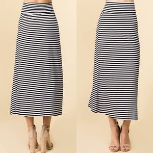 Dresses & Skirts - Basic Stripe Casual Maxi Skirt